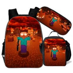pack cartable + Trousse + Lunch bag  Minecraft jeu vidéo sac à dos Gaming