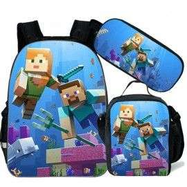 pack cartable + Trousse + Lunch bag  Minecraft jeu vidéo sac à dos Gaming