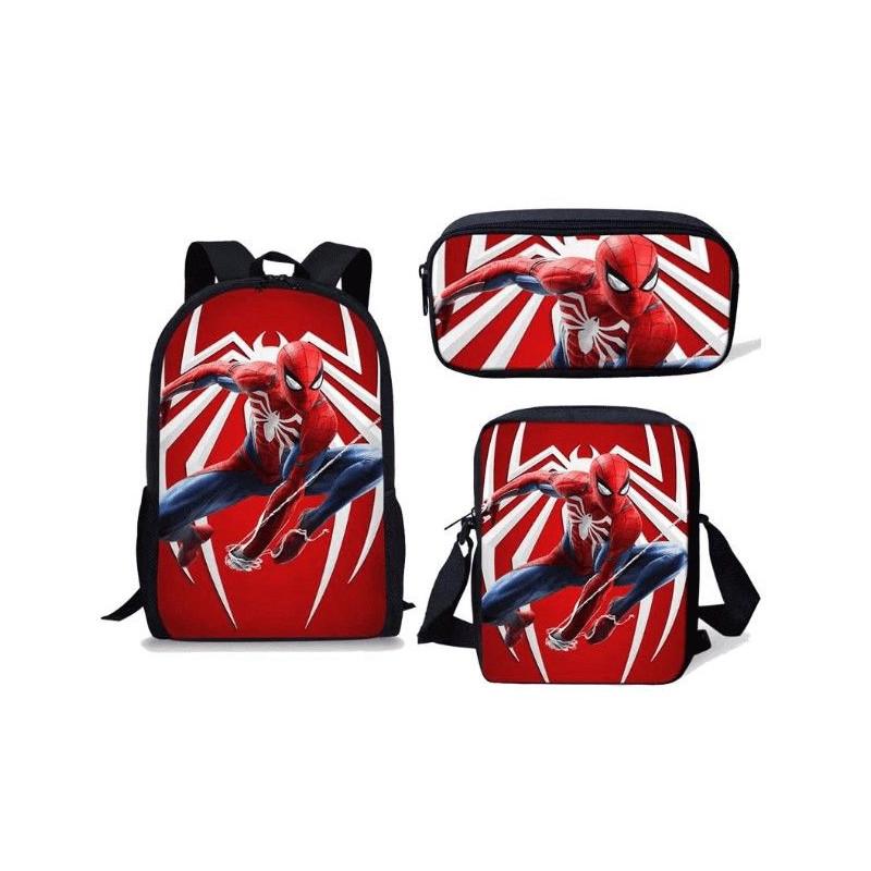 Pack imprimé Cartable sac à dos Spiderman + Sacoche + Trousse