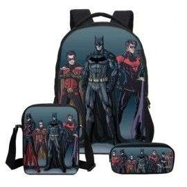 Pack imprimé Cartable sac à dos Batman + Sacoche + Trousse