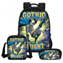 Pack imprimé Cartable sac à dos Batman + Sacoche + Trousse