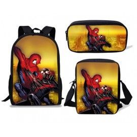 Pack imprimé Cartable sac à dos Spiderman + Sacoche + Trousse