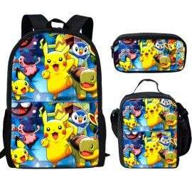 Pack imprimé Cartable sac à dos Pokemon + Sacoche + Trousse