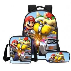 Pack imprimé Cartable sac à dos Mario Bros + Sacoche + Trousse