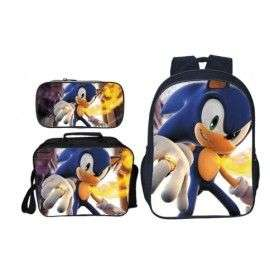 Pack imprimé Cartable sac à dos Sonic + Lunch Bag + Trousse