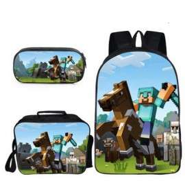 Minecraft 4 pieces gaming school pack backpack + Lunch bag + Crossbody messenger bag + pencil case