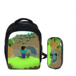 Minecraft 2 pieces gaming kindergarten pack backpack + pencil cas