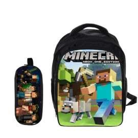 Minecraft 2 pieces gaming kindergarten pack backpack + pencil cas